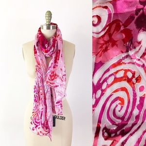 Cynthia Rowley Silk Floral Burnout Long Scarf Pink
